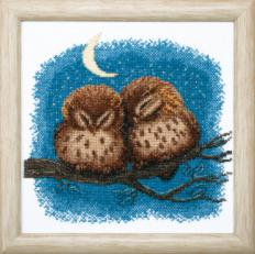 BT-012 Counted cross stitch kit Crystal Art Owlets. Catalog. Kits