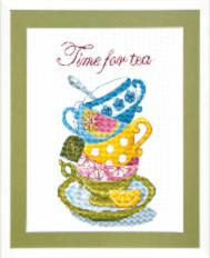 BT-005 Counted cross stitch kit Crystal Art Time for tea. Catalog. Kits