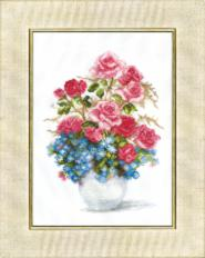 BT-023 Counted cross stitch kit Crystal Art Roses and forget-me-not. Catalog. Kits