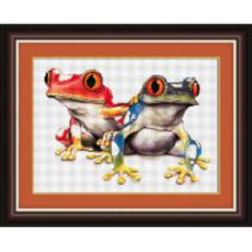 012T Kits for drawing by pebbles (canvas) Colourful frogs (Lasko) . Catalog. Kits